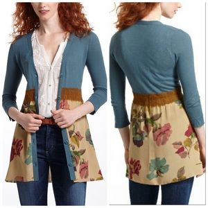 Anthro. Knitted & Knotted Foliage Empire Cardigan